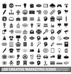 100 creative marketing icons set simple style vector