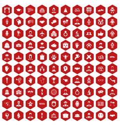 100 handshake icons hexagon red vector