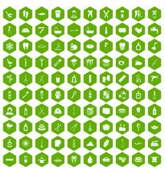 100 hygiene icons hexagon green vector