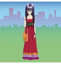 Stylish hippie girl with urban background vector