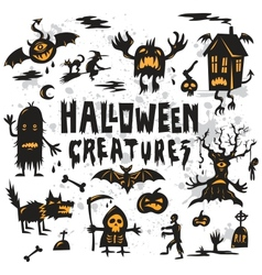 Halloween creatures set vector