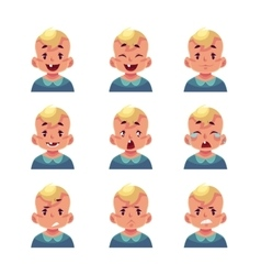 Set of blond baby boy avatars with different vector