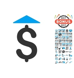 Dollar up icon with 2017 year bonus pictograms vector