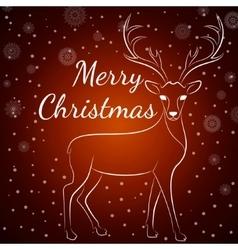 Merry Christmas brown deer vector image