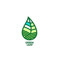 Horizontal pointed green leaf logo template vector