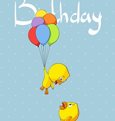 Cute chicks congratulate birthday vector
