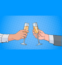 Male couple hands clinking glass of champagne wine vector