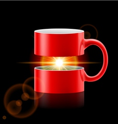 Red mug of two parts with sunshine inside vector