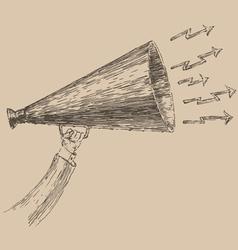 Loudspeaker engraving style hand drawn vector