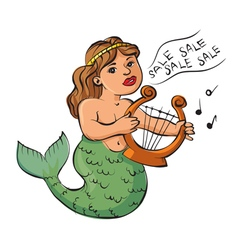 Mermaid playing a harp vector