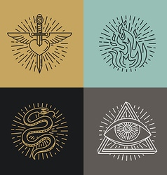 Set of tattoo styled icons vector