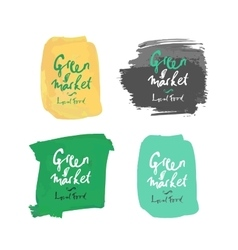 Green local market label vector