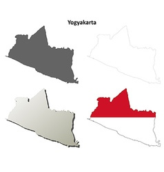 Yogyakarta blank outline map set vector