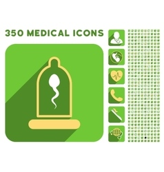 Sperm in condom icon and medical longshadow icon vector