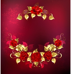Symmetrical garland of gold and red roses vector