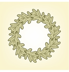 Round frame from oak leaves vector