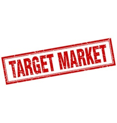 Target market red square grunge stamp on white vector