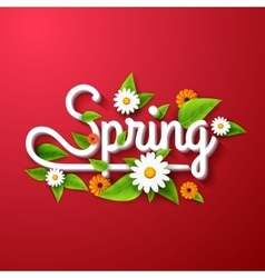 Fresh spring background poster with leafs vector