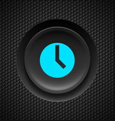 Black button with blue timer sign on carbon vector