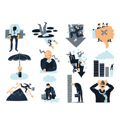 business failure flat icons set vector image