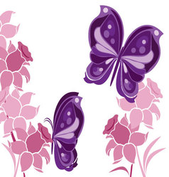 butterflies-and-flowers-2 vector image