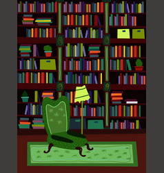cartoon flat interior library room or office vector image vector image