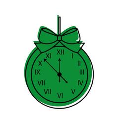 Christmas clock frame bow ribbon decoration vector