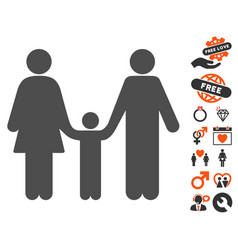 family child icon with dating bonus vector image
