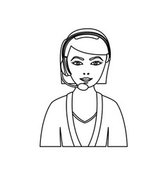 Figure people woman technological services icon vector