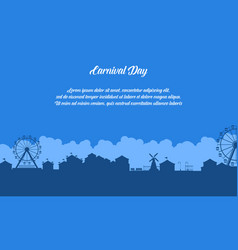 Flat of amusement park scenery silhouette vector