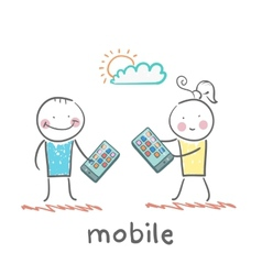 girl and boy with mobile phones vector image vector image