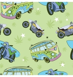 Green surfboards on hippie bus motorcylces vector