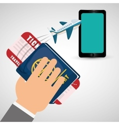 Hand hold passport ticket travel plane cellphone vector