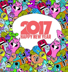 Happy new year 2017 Hand Drawn Monsters and cute vector image