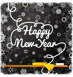 Happy new year message written on the black school vector