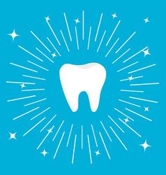 Healthy tooth big icon round line circle oral vector