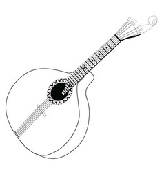 isolated portuguese guitar outline vector image vector image