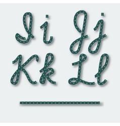 Letters i j k l - handwritten alphabet of rope vector