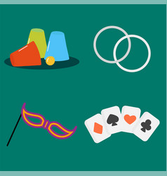 Magician tools poker cards art style gambler vector