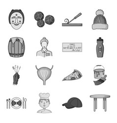 Man cook cap and other web icon in monochrome vector