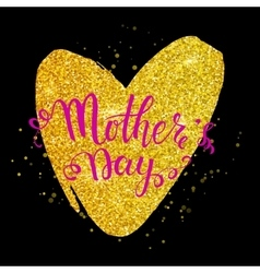 Mothers day lettering on golden heart black vector