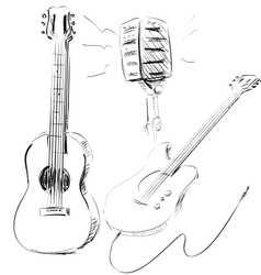 Music icons set with guitars and microphone vector