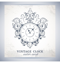 Old vintage wall clock postcard vector