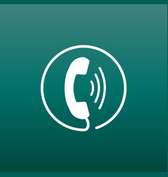 Phone icon contact support service sign on green vector