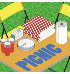 Picnic on grass ilustration vector image