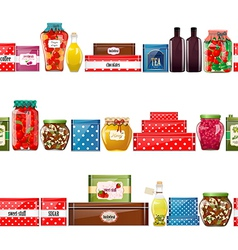 seamless border with preserve food vector image vector image