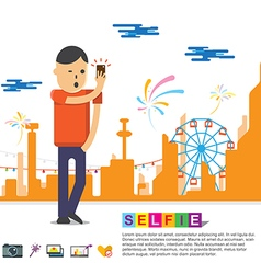 Selfie photo with smartphone concept vector