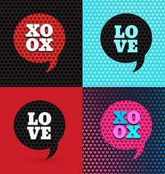 Set of 4 valentines day and typography elements B vector image vector image