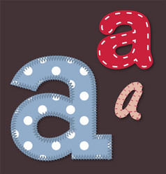Set of stitched font - Letter A vector image vector image