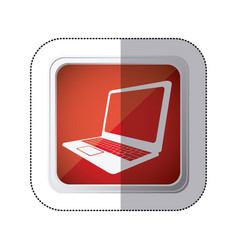 Sticker red square button with silhouette laptop vector